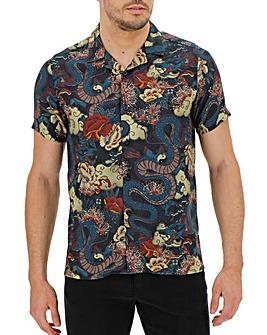 Oriental Print Short Sleeve Revere Collar Shirt Long