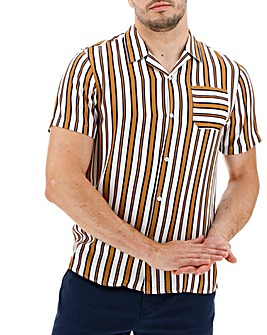 Brown Stripe Short Sleeve Revere Collar Shirt Long