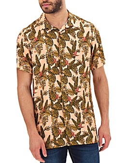 Tropical Print Short Sleeve Shirt Long