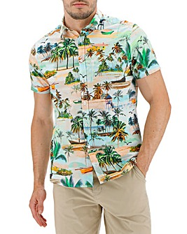 Beach Print Short Sleeve Shirt Long