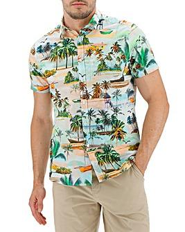 Beach Print Short Sleeve Shirt Long