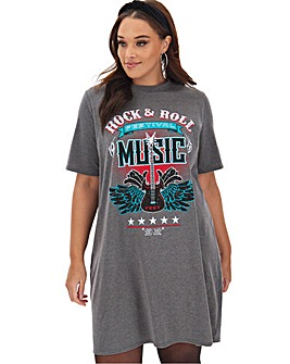 Grey Rock and Roll T- Shirt Dress