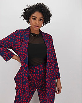 Love Heart Printed Lightweight Blazer
