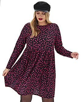 Pink Spot Print Jersey Smock Dress
