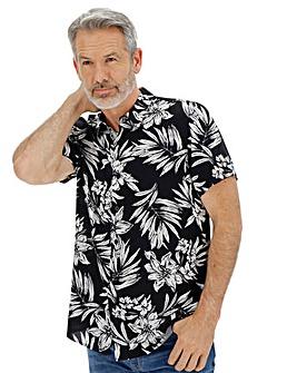 Black Floral Print Shirt Long