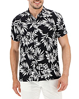Black Short Sleeve Floral Print Shirt Long