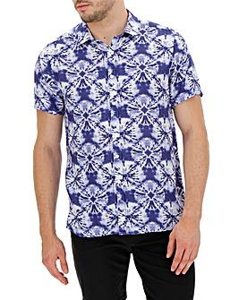 Blue Tie Dye Short Sleeve Shirt Long