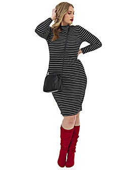 High Neck Ribbed Bodycon Dress