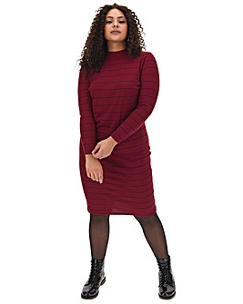 High Neck Ribbed Bodycon Dress