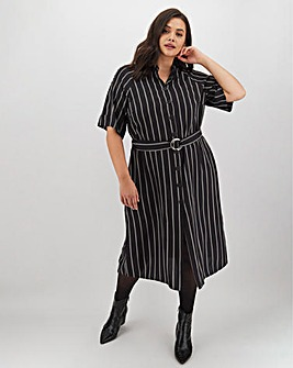 Black Stripe Midi Shirt Dress