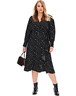 Star Print Wrap Midi Dress