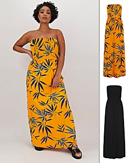 2 Pack Shirred Bandeau Maxi Dresses