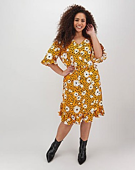 Yellow Floral Tea Dress