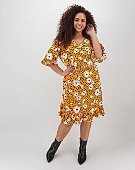 Yellow Floral Tea Dress