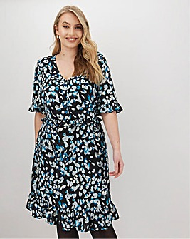Blue Printed Tea Dress