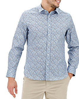 Blue Ditsy Print Long Sleeve Shirt Long