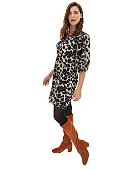 Animal Print Puff Sleeve Swing Dress