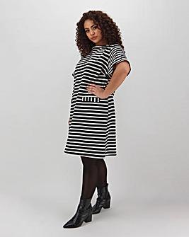 Stripe Pocket Detail Sweat Dress