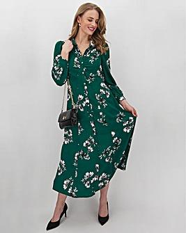 Green Floral Puff Sleeve Shirt Dress