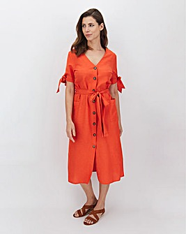 Paprika Linen Button Midi Dress