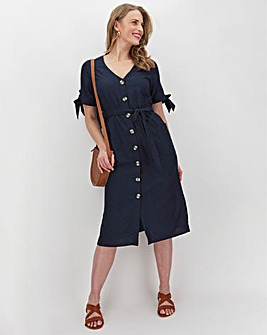 Navy Linen Button Midi Dress