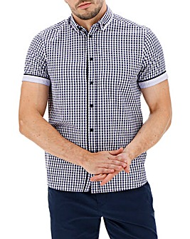 Navy Check Double Collar Shirt