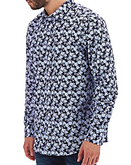 Navy Ditsy Print Long Sleeve Shirt Long