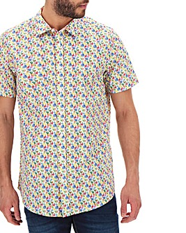 Fruit Print Short Sleeve Shirt Long