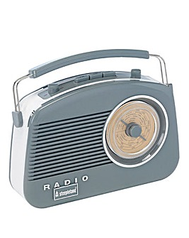 Steepletone Brighton Retro Radio Dove Grey