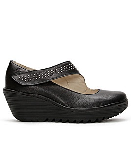 Fly London Yasi Studs Leather Mary Jane Wedge Shoes