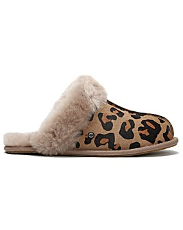UGG Womens Scuffette II Leopard Cow Hair Shearling Slippers