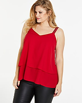 Red Double Layer Strappy Camisole