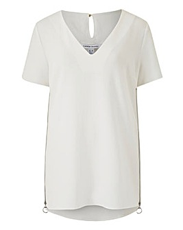 Ivory V-Neck Side Zip Tunic