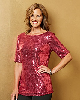Pink All Over Sequin Top
