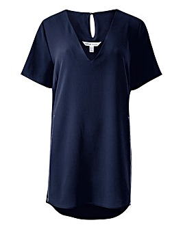 Navy V-Neck Side Zip Tunic