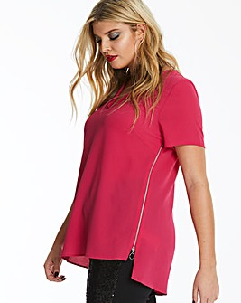 Pink V-Neck Side Zip Tunic