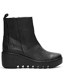 Fly London Bale Leather Wedge Ankle Boots Standard Fit