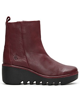 Fly London Bale Leather Wedge Ankle Boots