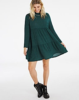 Green Ribbed Tiered Smock Dress