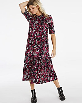 Floral Print Supersoft Tiered Midi Dress