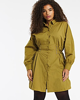 Olive Long Sleeve Cotton Poplin Corset Shirt Dress