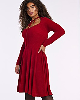 Red Tie Neck Glitter Knit Skater Dress