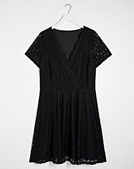 Lace Wrap Skater Dress