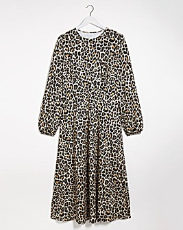 Leopard Supersoft Jersey Midi Dress