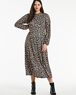 Leopard Print Supersoft Jersey Midi Dress