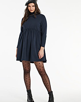 Navy High Neck Sweat Smock Dress