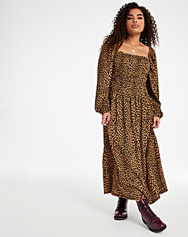 Leopard Square Neck Shirred Waffle Midi Dress