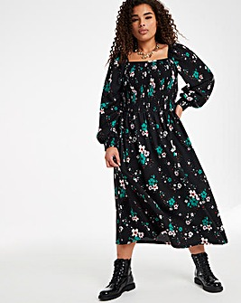 Black Floral Square Neck Shirred Waffle Midi Dress