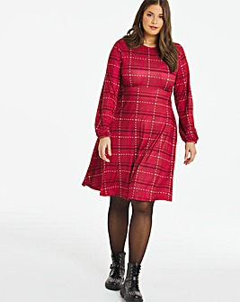 Red Check Supersoft Jersey A-line Tea Dress