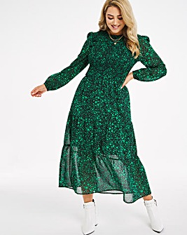 Green Star Print Shirred Midi Dress